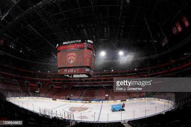The Zamboni ice resurfacing machine makes its rounds prior to the Florida Panthers hosting the Edmonton Oilers at the BB&T Center on February 15,...