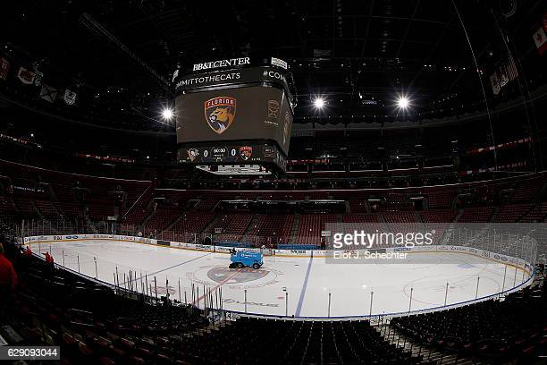 The Zamboni Ice Resurfacing machine makes its rounds prior to the Florida Panthers hosting the Pittsburgh Penguins at the BB&T Center on December 8,...