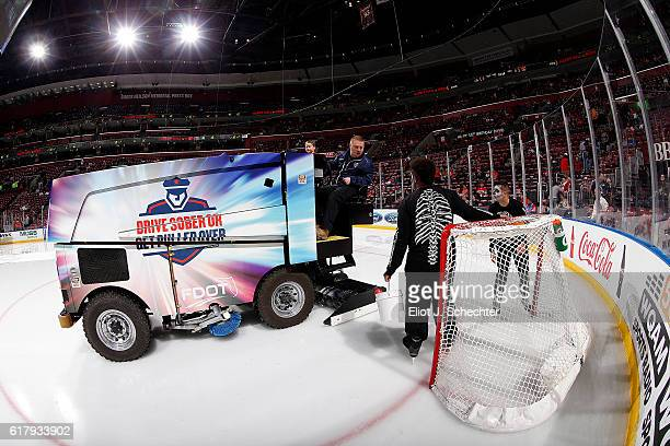 The Zamboni ice resurfacing machine makes the rounds prior to the start of the game between the Florida Panthers and the visiting Colorado Avalanche...