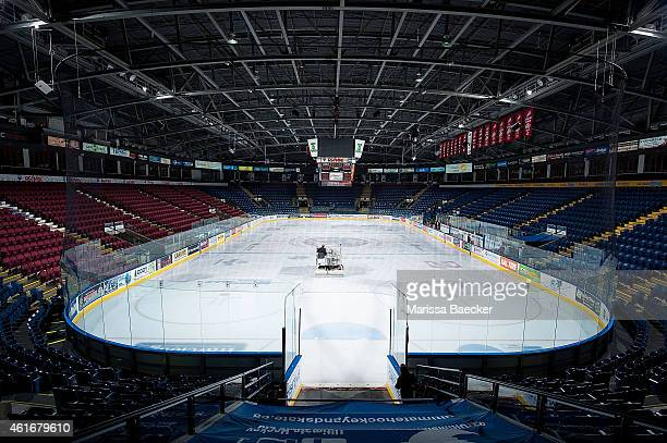 The zamboni makes its way across the ice surface prior to the game between the Kelowna Rockets and the Tri City Americans on January 14 2015 at...