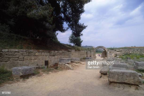 The Zanes to the left and the passageway leading to the stadium at the site of the Ancient Olympic Games in Olympia in Greece