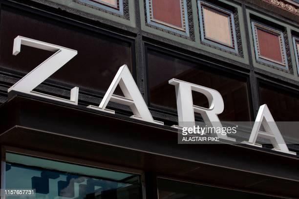 The Zara logo is seen outside a shop in Washington DC on July 25 2019
