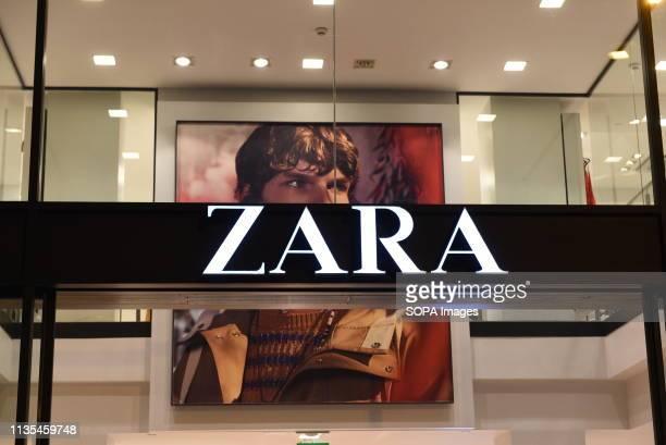 The Zara logo seen on a Zara Store in Barcelona