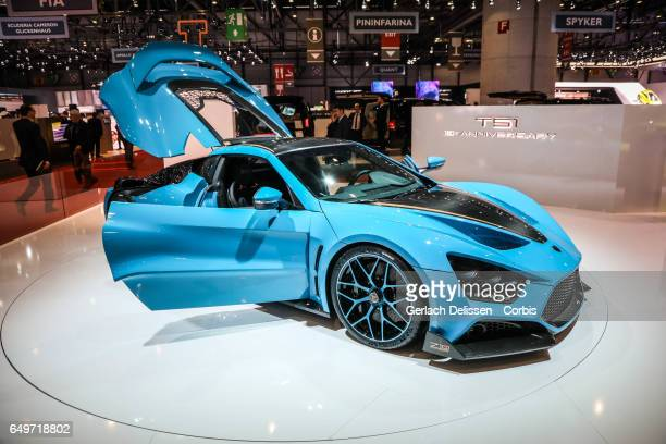 The Zenvo TS1 10th anniverary on display during the second press day of the Geneva Motor Show 2017 at the Geneva Palexpo on March 8 2017 in Geneva...