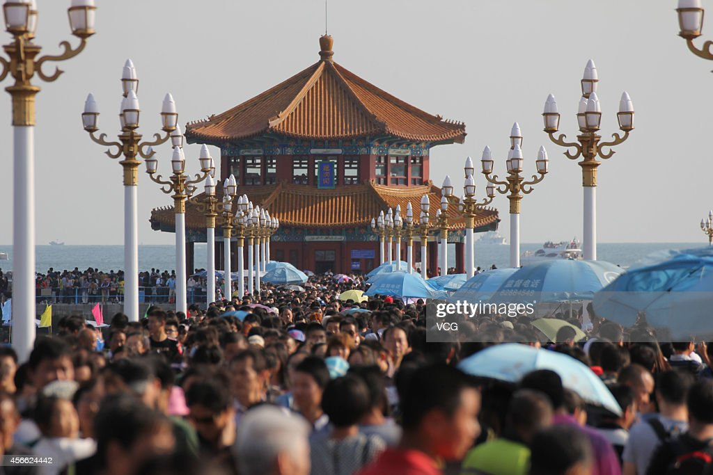 The Zhan Qiao is crammed with tourists on the third day of the National Day holiday on Ocober 3, 2014 in Qingdao, China. China's golden-week National Day holiday is expected to bring a tourism peak throughout the country.