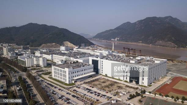 The ZhejiangHuahaiPharmaceutical Co headquarters and production complex stands in this aerial photograph taken in Linhai Zhejiang Province China on...