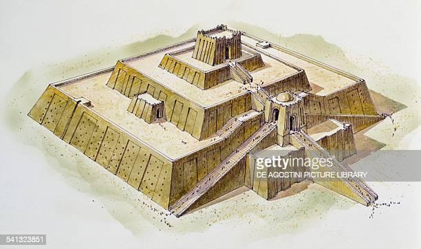 The Ziggurat of Ur drawing Babylonian civilisation Iraq III millennium BC