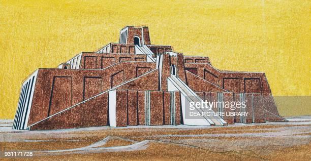 The ziggurat of Ur drawing Iraq Mesopotamian civilization
