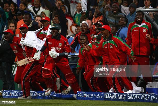 The Zimbabwe team celebrate after the winning runs have been scored during the ICC Twenty20 World Championship match between Austalia and Zimbabwe at...