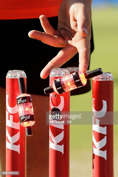 The Zinger flashing bailles are checked before the Big Bash League between the Perth Scorchers and Adelaide Strikers at WACA on December 23 2016 in...