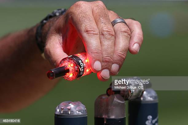 The Zings bails are tested during the 2015 ICC Cricket World Cup match between India and Pakistan at Adelaide Oval on February 15 2015 in Adelaide...