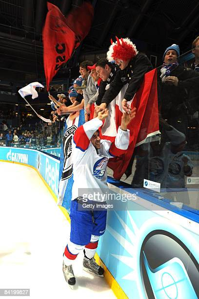 The ZSC team celebrates after winnig the semi-finals at the IIHF Champions Hockey League semi-final match between Espoo Blues and ZSC Lions Zurich at...