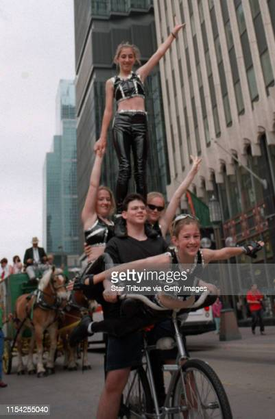 The Zuhrah Shrine Circus parade Members of Circus Of The Star balance on a bicycle while riding along the Nicollet Mall Tuesday as part of the Zuhrah...