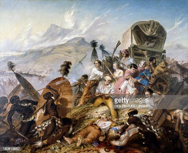 The Zulu natives attacking a Boer caravan at Blauwkrantz, February 6 by Thomas Baines , oil on canvas. South Africa, 19th century.