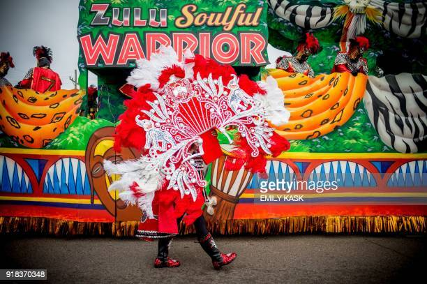 The Zulu Parade performs on the streets of New Orleans on Mardi Gras Day February 13 2018 / AFP PHOTO / 00059360A / Emily Kask