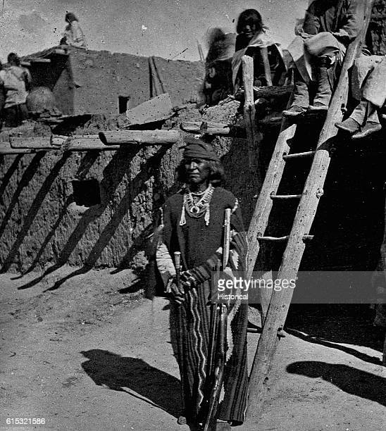 The Zuni War Chief standing with his weapons Zuni New Mexico ca 1873
