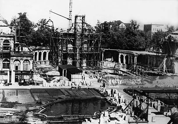 The zwinger palace in dresden germany in 1953 after the start of renovations the palace is being rebuilt after being destroyed by bombing at the end...