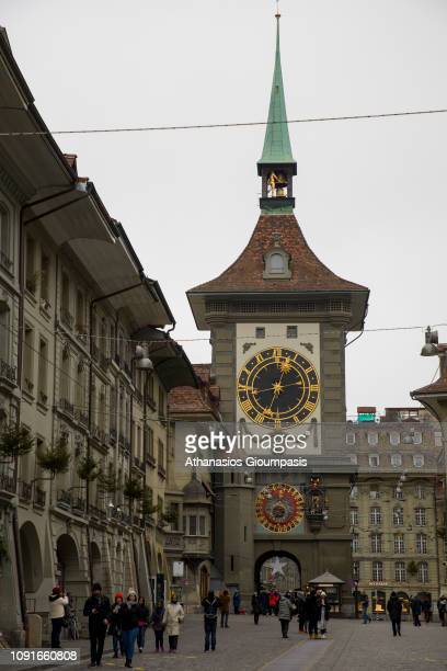 The Zytglogge clock tower at Kramgasse Street on January 01 2019 in Bern Switzerland The Zytglogge lock tower is a landmarkIt was built in the early...
