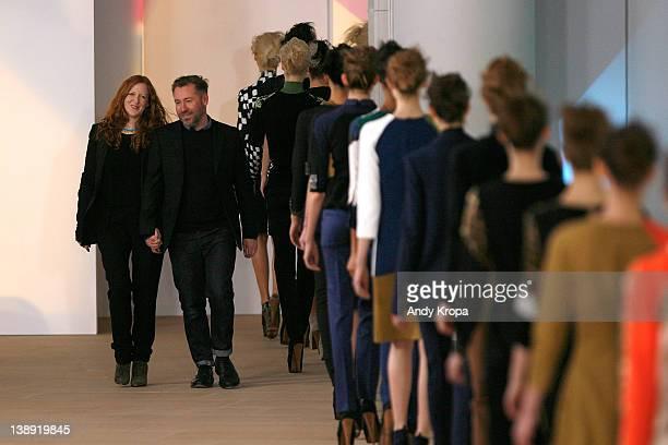 Thea Bregazzi and Justin Thornton attend the Preen by Thorton Bregazzi fall 2012 fashion show during Mercedes-Benz Fashion Week at the IAC Building...