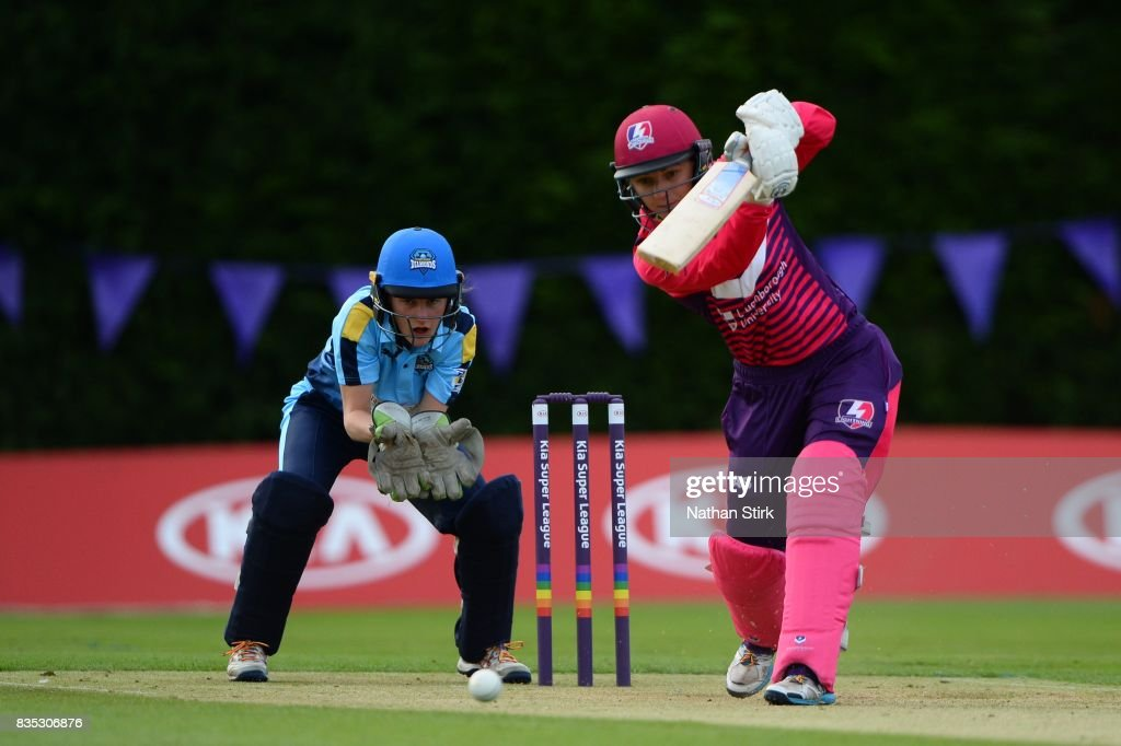Thea Brookes of Loughborough Lightning in action during the Kia Super League 2017 match between Loughborough Lightning and Yorkshire Diamonds at The Haslegrave Cricket Ground on August 18, 2017 in Loughborough, England.