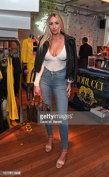 Thea Caroline attends a live instore performance of Alice for Fiorucci on August 16 2018 in London England
