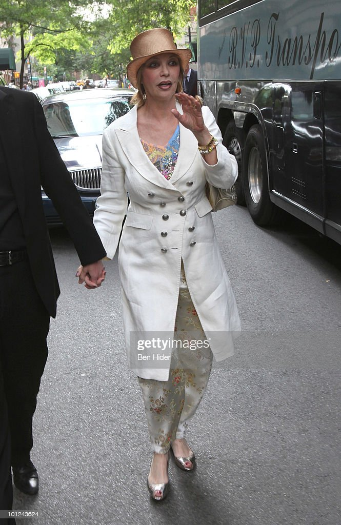 Thea Gottschalk leaves for her husbands 60th birthday celebration outside the Plaza Athenee on May 28, 2010 in New York City.