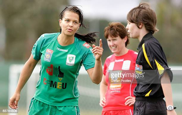Thea Slatyer of Canberra United has words to the referee after being sent from the field during the round five WLeague match between Canberra United...