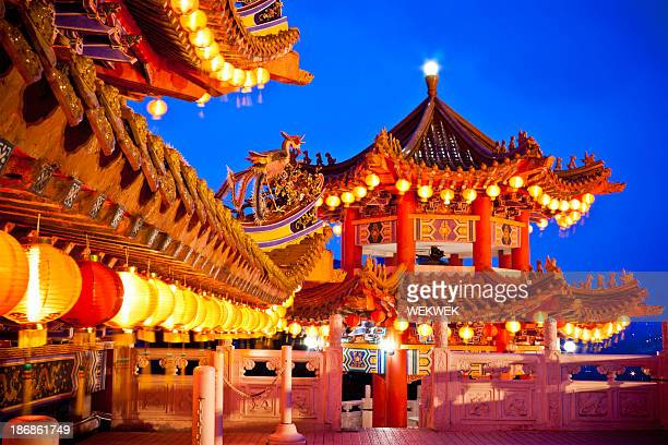 thean hou temple in kuala lumpur, malaysia over a dusk sky - malaysia stock pictures, royalty-free photos & images