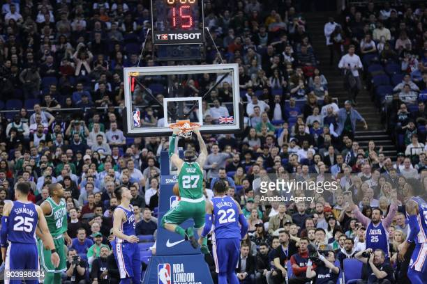 Theas of Boston Celtics in action during the NBA game between Boston Celtics and Philadelphia 76ers at the O2 Arena in London England on January 11...