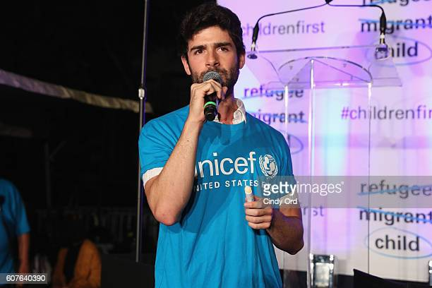 Theater actor Adam Kantor performs at US Fund for UNICEF as it calls on world leaders to put children first during a candlelight vigil at Dag...