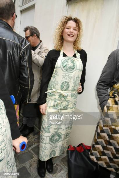 Theater actress Taos Sonzogni attends Zelia Van Den Bulke Aprons show At Zelia Abbesses Shop on May 1, 2018 in Paris, France.