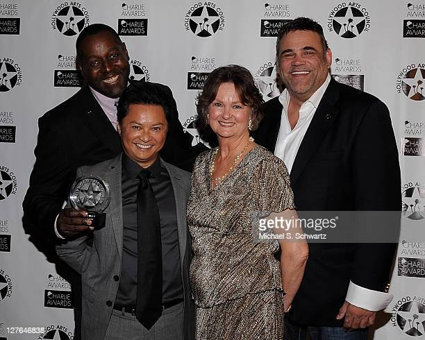 Theater Arts Honorees Celebration Theatre Artistic Director Michael Shepperd actor Alec Mapa Hollywood Arts Council President Nyla Arslanian and...