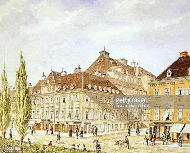 Theater der Stadt in Vienna Austria 19th Century Watercolour