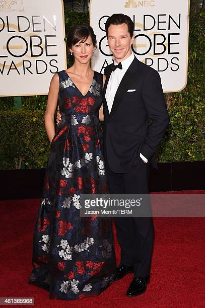 Theater Director Sophie Hunter and actor Benedict Cumberbatch attend the 72nd Annual Golden Globe Awards at The Beverly Hilton Hotel on January 11...