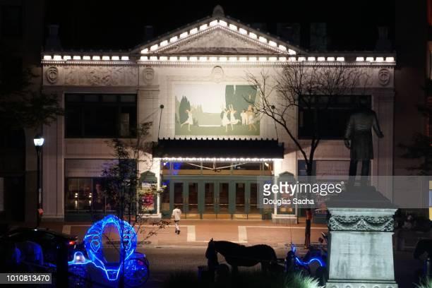 Theater entrance at Hilbert Circle Theatre, Indianapolis, Indiana, USA