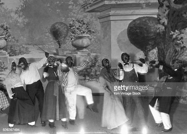 A theater group performs in black face c 1910