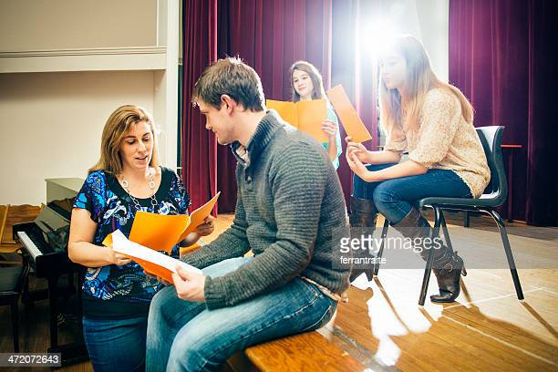theater group rehearsing - rehearsal stock pictures, royalty-free photos & images