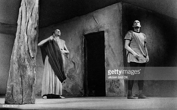 Theater in Germanyfrom left NN and Kurt Meisel in the play 'The Flies' by Jean Paul Satre theater HebbelTheater Berlin director Juergen Fehling...