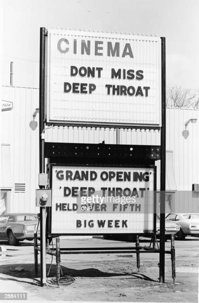 Theater marquee advertises the film 'Deep Throat', starring Linda Lovelace , directed by Gerard Damiano, 1972.