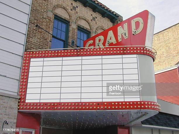 Anzeigetafel für Kino oder Theater Blank