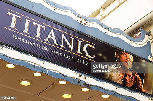 Theater Marquee with Titanic 3D Movie Poster