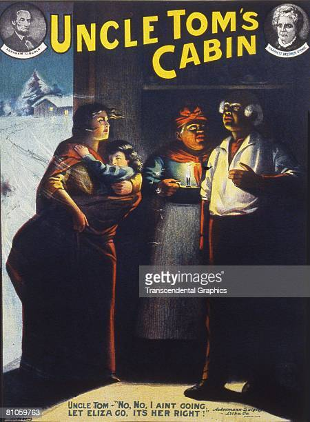 A theater poster depicts a scene from the stage production of 'Uncle Tom's Cabin' with likenesses of US President Abraham Lincoln and American author...