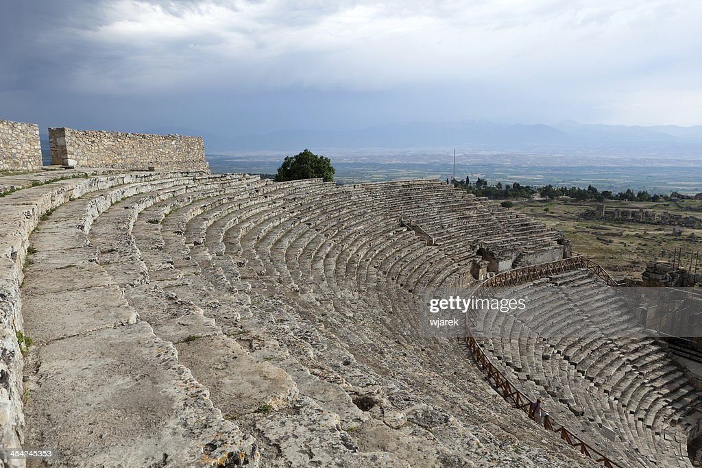 Theater ruins in Hieropolis, Pamukkale : Stock Photo