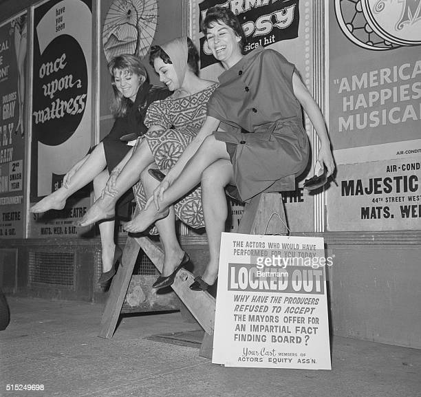 Theater Shutdown Manhattan New York New York Three pretty girls from cast of Take Me Along at the Shubert Theater nurse their tender feet after...