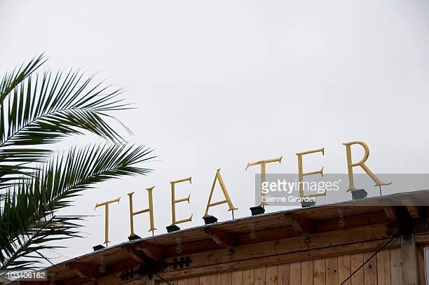 Theater sign, low angle view