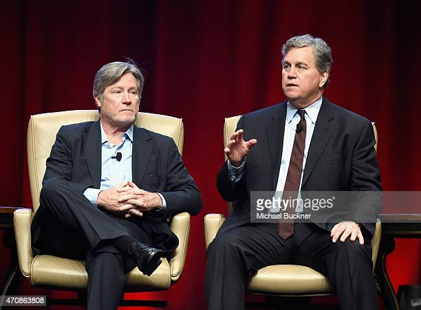 Theaters President of Programming Robert Lenihan and Co-Chairman of Sony Pictures Classics Tom Bernard speak onstage during CinemaCon's final day...