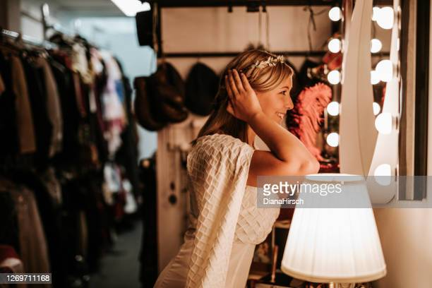 theatre actress backstage - theatrical performance stock pictures, royalty-free photos & images
