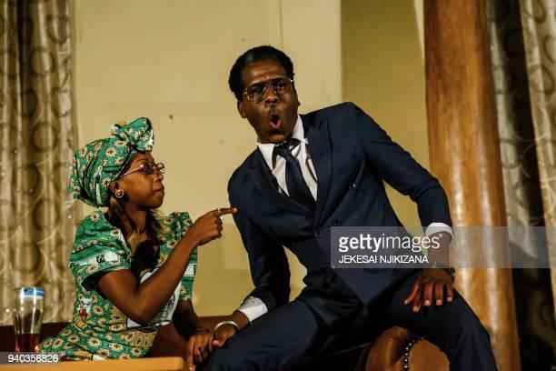 Theatre actress Carol Magenga interpreting Zimbabwe's former first lady Grace Mugabe and theatre actor Khetani Banda in the role of former Zimbabwe's...