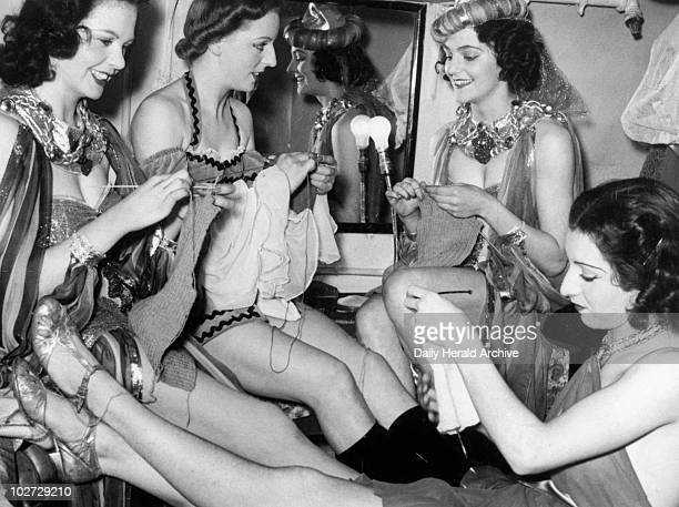 Theatre actresses join the war effort c1939 Theatre actresses join the war effort c1939 'Wartime knitting they're doing it in dressing rooms'...