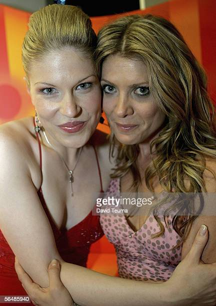 TV theatre and music stars Tamsin Carroll and Natalie Bassingthwaighte pose after performing at the 2005 Carols by Candlelight on December 24 2005 in...